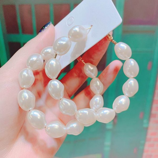 21645 aeb9f9 600x600 - Fashion Simulated Pearl Statement Big Small Hoop Earrings for Women Exaggerate Circle Earrings Personality Nightclub Jewelry