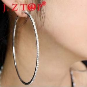 21697 1ea628 300x300 - JZTOP  Big Crystal Hoop Earrings Large Classic Full Rhinestone Circle Earring For Women Party Round Trendy Brinco