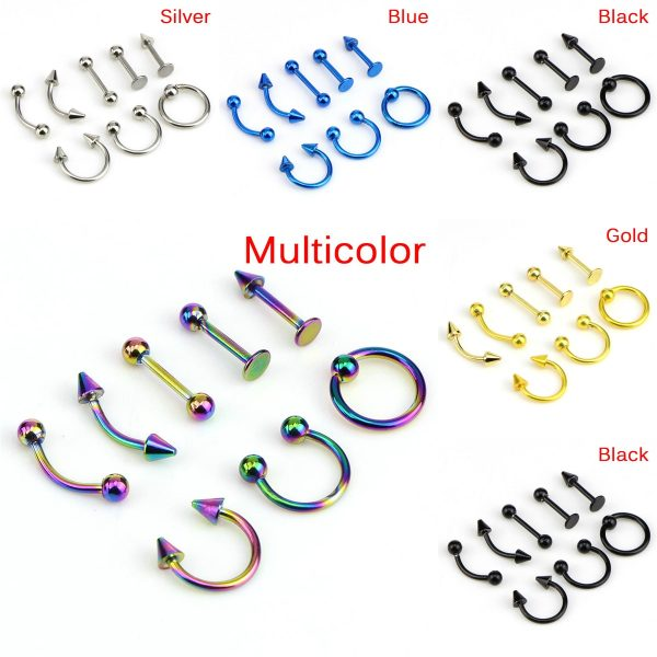 21858 15b2f1 600x600 - 8pcs/lot Stainless Steel  Fashion 16G Titanium Anodized Body Jewelry Helix Piercing Ear Eyebrow Nose Lip Captive Rings