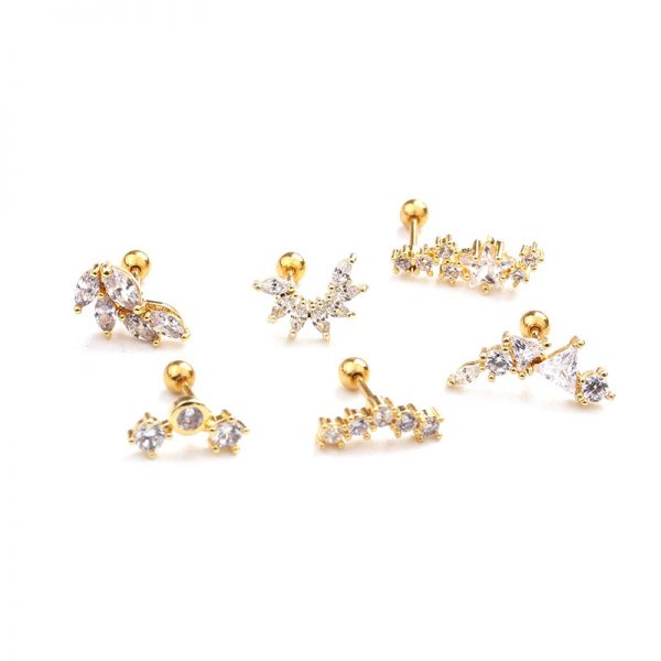 21864 3456a2 600x600 - Feelgood Rose Gold Color Curved Cz Cartilage Stud Helix Rook Conch Screw Back Earring 20g Stainless Steel Ear Piercing Jewelry