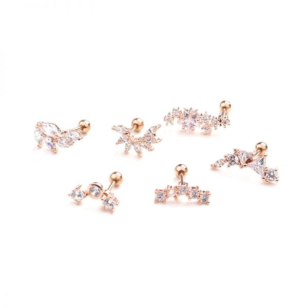 21864 8fa112 600x600 - Feelgood Rose Gold Color Curved Cz Cartilage Stud Helix Rook Conch Screw Back Earring 20g Stainless Steel Ear Piercing Jewelry