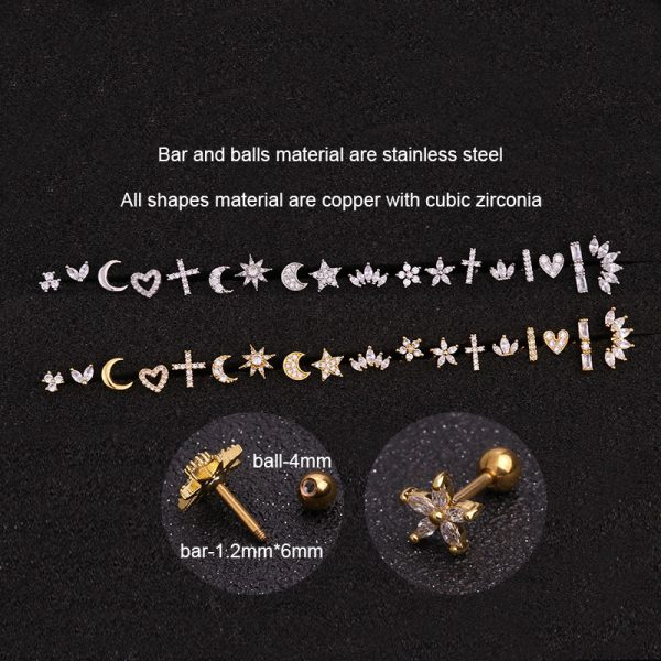 21890 5bf5da 600x600 - 1 Piece Gold White Moon Star Flower Heart Cross Marquise Steel Barbell CZ Tragus Diath Cartilage Helix Rook Piercing Earring