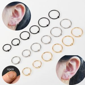 22009 96e1f1 300x300 - 6 PCS/1 lot Stainless Steel Ball Black Hoop Earrings Circle Captive Bead Ring Ear Nose Nostril Septum Helix Cartilage Piercing