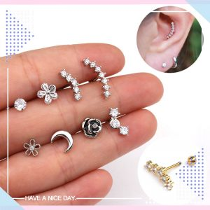 22022 945244 300x300 - TTLIFE 1 Piece Silver Rose Flower Wave Moon CZ Ear Piercing Earrings Studs Elegant Women Tragus Helix Cartilage Piercing Jewelry