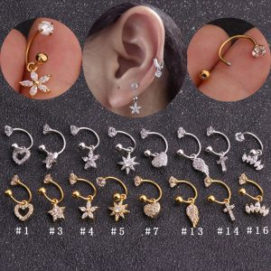 22051 9992f1 300x300 - Sellsets 1 PC Steel CZ Hoop With Cubic Zirconia Dangle Ear Tragus helix Daith Cartilage Rook Piercing Jewelry