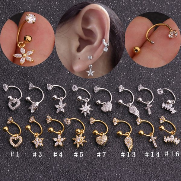 22051 9992f1 600x600 - Sellsets 1 PC Steel CZ Hoop With Cubic Zirconia Dangle Ear Tragus helix Daith Cartilage Rook Piercing Jewelry