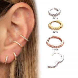 22082 90e64f 300x300 - Feelgood 1Pc 6mm to 10mm Cz Cartilage Hoop Earring Small Hoops Helix Tragus Rook Daith Snug Piercing Jewelry