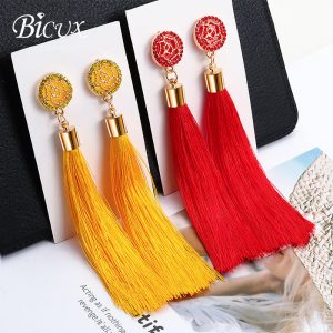 22179 37000c 300x300 - BICUX Fashion Bohemian Tassel Crystal Long Earrings White Red Silk Fabric Drop Dangle Tassel Earrings For Women 2019 Jewelry