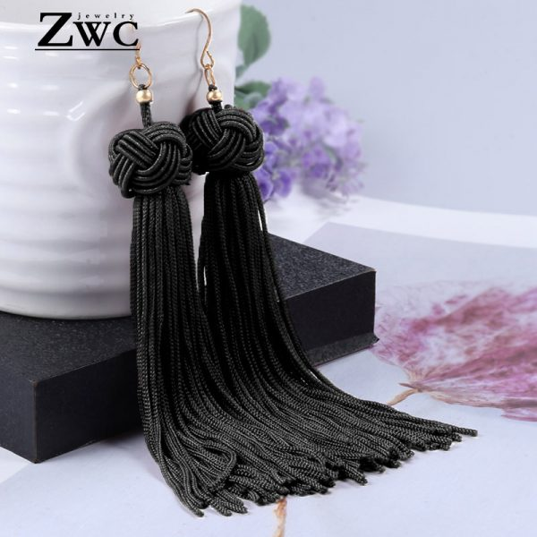 22180 3ea390 600x600 - ZWC Vintage Ethnic Long Tassel Drop Earrings for Women Lady Fashion Bohemian Statement Fringe Dangle Women Earring 2019 Jewelry