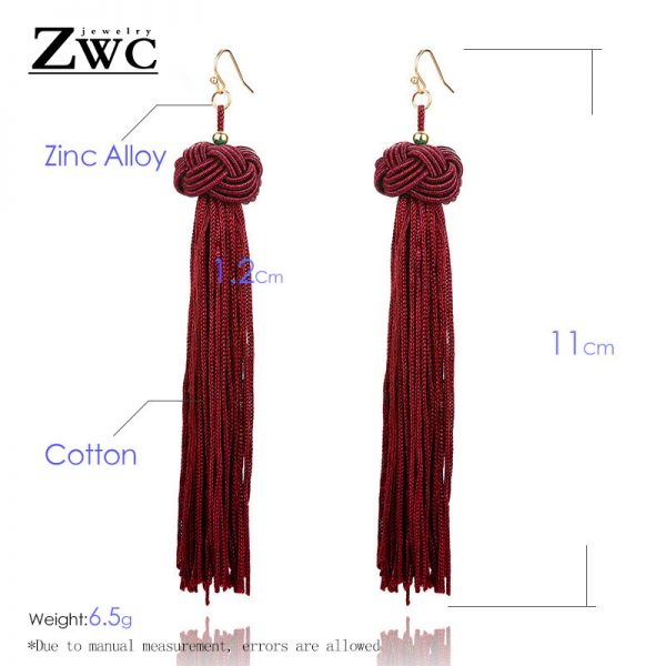 22180 8cb99a 600x600 - ZWC Vintage Ethnic Long Tassel Drop Earrings for Women Lady Fashion Bohemian Statement Fringe Dangle Women Earring 2019 Jewelry