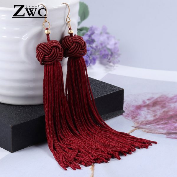 22180 ea0746 600x600 - ZWC Vintage Ethnic Long Tassel Drop Earrings for Women Lady Fashion Bohemian Statement Fringe Dangle Women Earring 2019 Jewelry