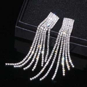 22382 d0d7de 300x300 - New Silver Color Rhinestone Crystal Long Tassel Earrings for Women Bridal Drop Dangling Earrings Brincos Wedding Jewelry WX006