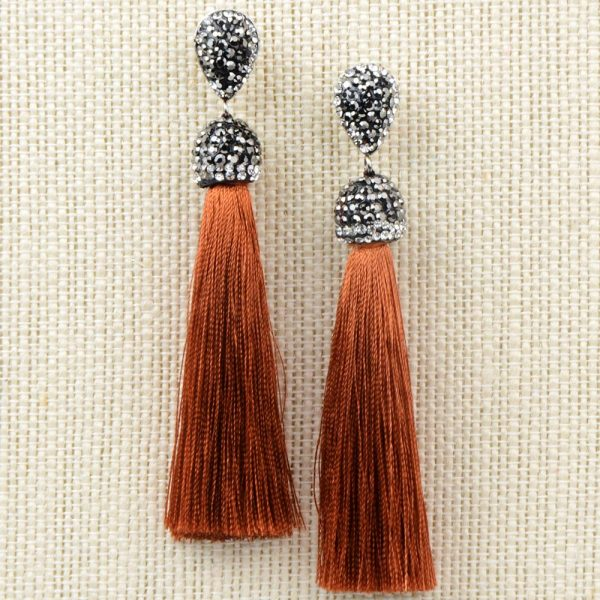 22394 4d8d13 600x600 - Handmade 12 Colors Long Tassel Earrings Bohemian Black Red Pink White Blue Silk Crystal Dangle Drop Earrings For Women Jewelry