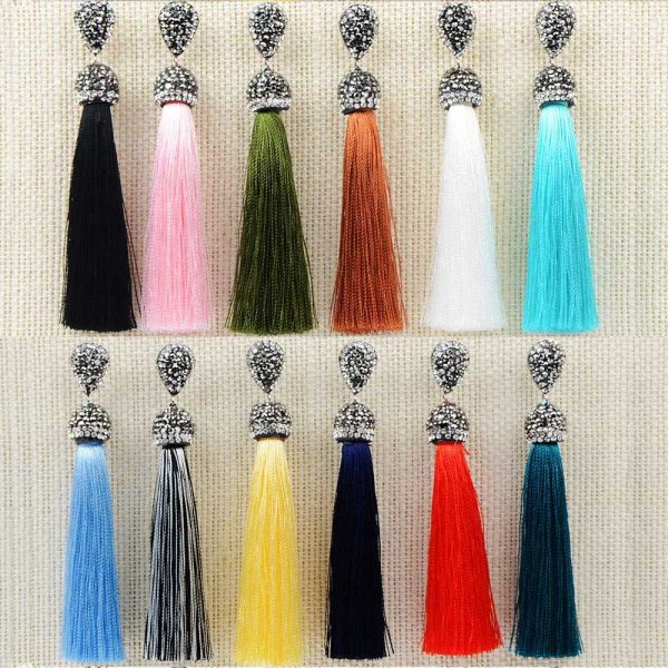 22394 d93681 600x600 - Handmade 12 Colors Long Tassel Earrings Bohemian Black Red Pink White Blue Silk Crystal Dangle Drop Earrings For Women Jewelry