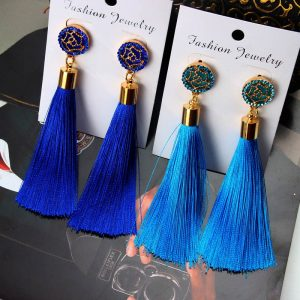 22426 5bcbe3 300x300 - European Fashion Bohemian Tassel Crystal Long Earrings White Red Silk Fabric Drop Dangle Tassel Earrings For Women 2019 Jewelry