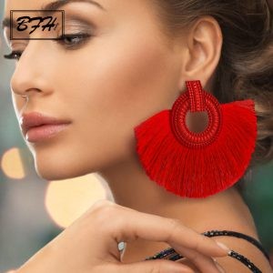 22586 ea73f8 300x300 - BFH Fashion Bohemian Big Tassel Earrings Statement Red Tassel Vintage Silk Fabric Drop Dangle Earring for Women 2019 Jewelry