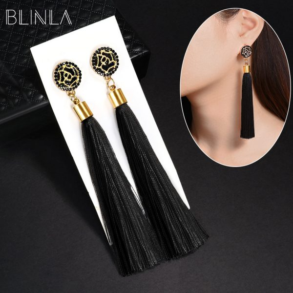 22851 414d13 600x600 - BLINLA Fashion Bohemian Tassel Crystal Long Earrings Black Red Silk Fabric Drop Dangle Tassel Earrings For Women 2019 Jewelry