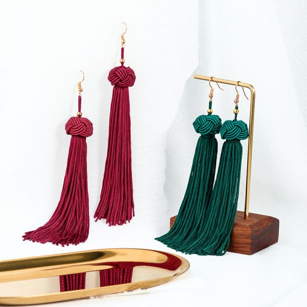22851 a52f59 600x600 - BLINLA Fashion Bohemian Tassel Crystal Long Earrings Black Red Silk Fabric Drop Dangle Tassel Earrings For Women 2019 Jewelry