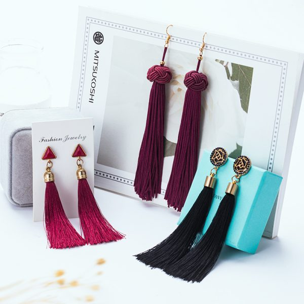 22851 c143b0 600x600 - BLINLA Fashion Bohemian Tassel Crystal Long Earrings Black Red Silk Fabric Drop Dangle Tassel Earrings For Women 2019 Jewelry