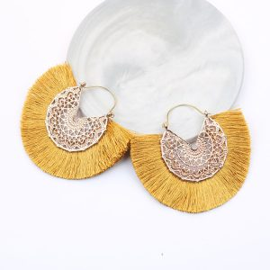 23073 9d526a 300x300 - Bohemian Fan Shaped Tassel Earrings for Women Lady Female Fringe Handmade Dangle Earring Vintage Dangle Drop Earrings Jewelry