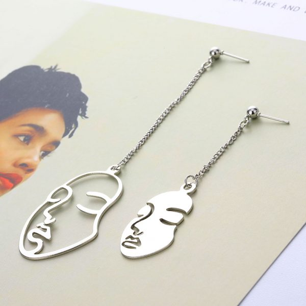 23189 1aae99 600x600 - New Gold Color Face Earrings KISS WIFE Abstract Art Drop Earrings For Women Girls Statament Tassel Earrings Exquisite Gift