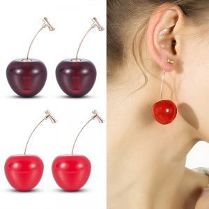 23723 375301 300x300 - New Fashion 2019 Earrings Women Girls Resin Cute Round Dangle Red Cherry Fruit Earrings Jewelry Gift