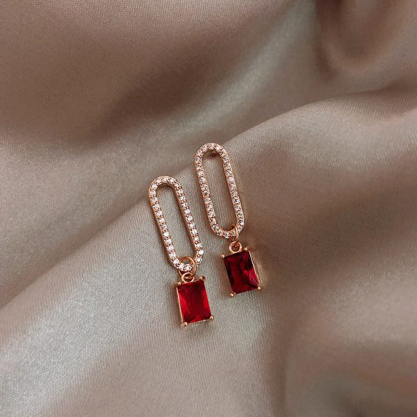 23734 56fb23 600x600 - 2019 New Arrival Korean Crystal Simple Red Earrings Trendy Geometric Women Dangle Drop Earrings Jewelry Earrings