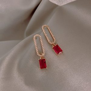 23734 84681b 300x300 - 2019 New Arrival Korean Crystal Simple Red Earrings Trendy Geometric Women Dangle Drop Earrings Jewelry Earrings