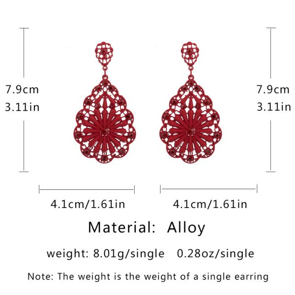 23741 bce081 600x600 - women's vintage earrings Long Retro High Black Water Hollow Pierced Ladies red Earrings Jewelry gift for women drop shipping #5