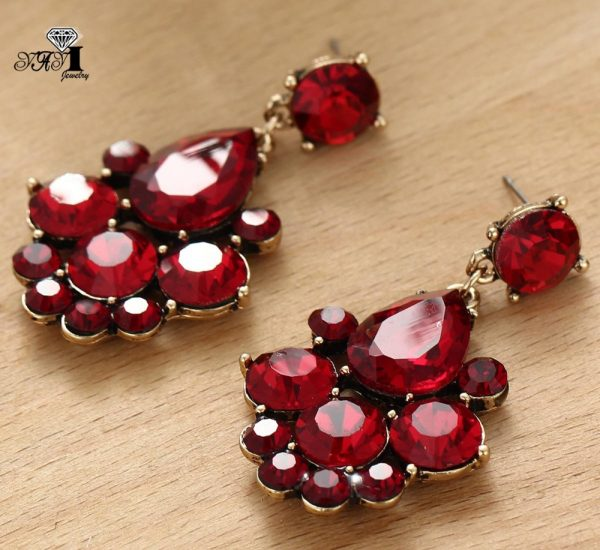 23747 02c6a2 600x550 - YaYi Jewelry New  Red Glass Gray Rhinestone Dangle Crystal Earring Women's Fashion Ancient Gold Color Gem Earrings 1164