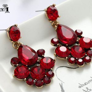 23747 64660a 300x300 - YaYi Jewelry New  Red Glass Gray Rhinestone Dangle Crystal Earring Women's Fashion Ancient Gold Color Gem Earrings 1164