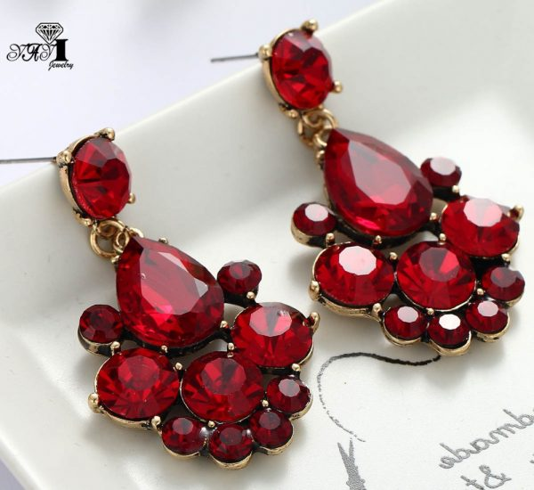23747 64660a 600x550 - YaYi Jewelry New  Red Glass Gray Rhinestone Dangle Crystal Earring Women's Fashion Ancient Gold Color Gem Earrings 1164