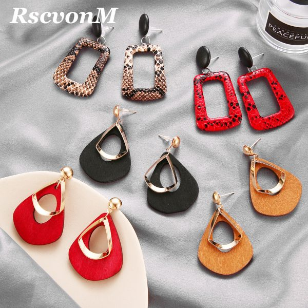 23765 4eebe2 600x600 - Trendy Party Jewelry Vintage 2019 Women's Fashion Statement Earring Red  Brown Black Color Long Wooden Brincos Wedding Gift