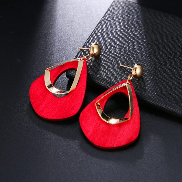 23765 7a5619 600x600 - Trendy Party Jewelry Vintage 2019 Women's Fashion Statement Earring Red  Brown Black Color Long Wooden Brincos Wedding Gift
