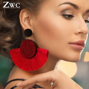 23830 5bddb7 300x300 - ZWC Fashion Bohemian Tassel Crystal Big Earrings Black White Red Silk Fabric Drop Dangle Statement Earrings For Women Jewelry