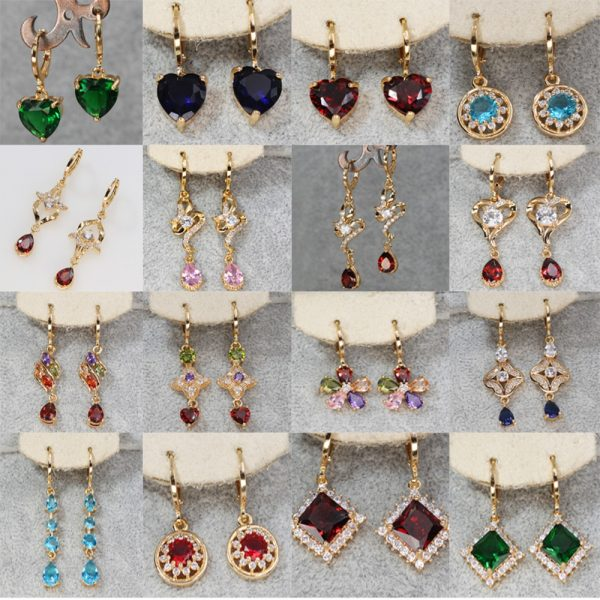 23834 f1ac9b 600x600 - Trendy Vintage Drop Earrings For Women Gold Filled  Red Green Pink Lavender Zircon Earrings Gold  Earring Wedding  Jewelry
