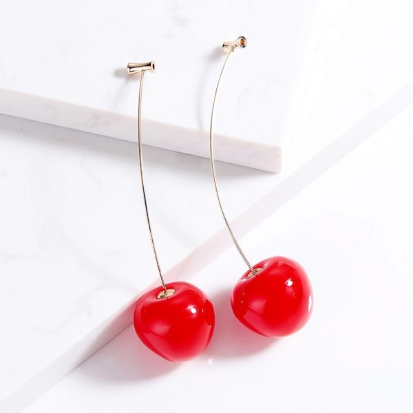 23870 48d6a0 600x600 - Cute Fruit Cherry Earrings Acrylic Long Red Earrings For Women Removable Elegant Jewelry Wedding Accessories Christmas Gifts
