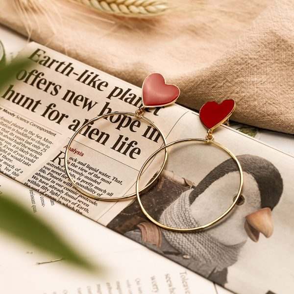 23876 116caf 600x600 - 2019 New Red Heart Big Gold Loop Dangle Earrings For Women Lady's Chic Heart Love Earring For Party Jewelry Gift