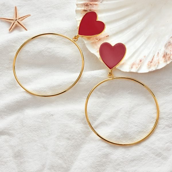 23876 4621ed 600x600 - 2019 New Red Heart Big Gold Loop Dangle Earrings For Women Lady's Chic Heart Love Earring For Party Jewelry Gift