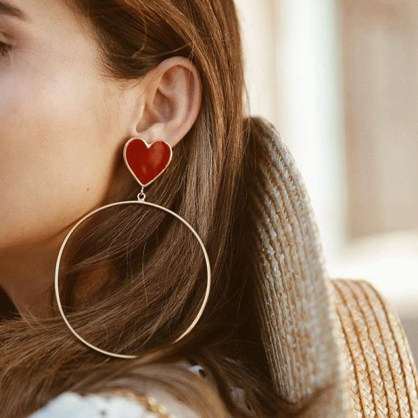 23876 529696 600x600 - 2019 New Red Heart Big Gold Loop Dangle Earrings For Women Lady's Chic Heart Love Earring For Party Jewelry Gift