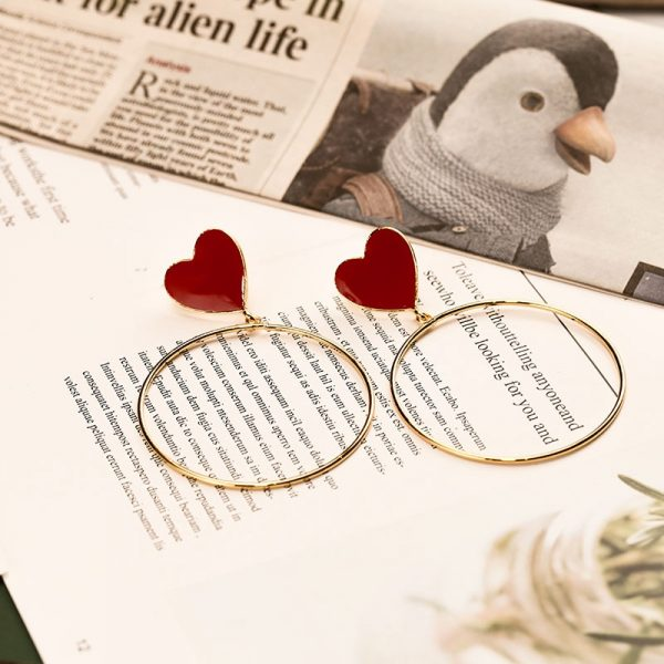 23876 da47e4 600x600 - 2019 New Red Heart Big Gold Loop Dangle Earrings For Women Lady's Chic Heart Love Earring For Party Jewelry Gift
