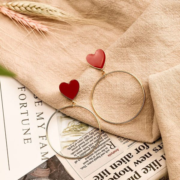 23876 ef5d08 600x600 - 2019 New Red Heart Big Gold Loop Dangle Earrings For Women Lady's Chic Heart Love Earring For Party Jewelry Gift