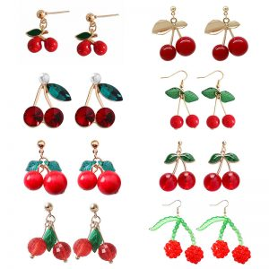 23942 6b59e1 300x300 - Cute Red Cherry Drop Earrings for Women Sweet Fruit Fresh Cherry Pendant Earrings Female Student Ear Jewelry Couple Gifts