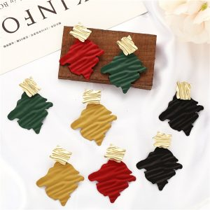 23995 3edeb3 300x300 - Fashion Statement Ripple Geometric Women Earrings  2019 Winter Red Black Green Yellow Earring New Style Jewelry Gifts