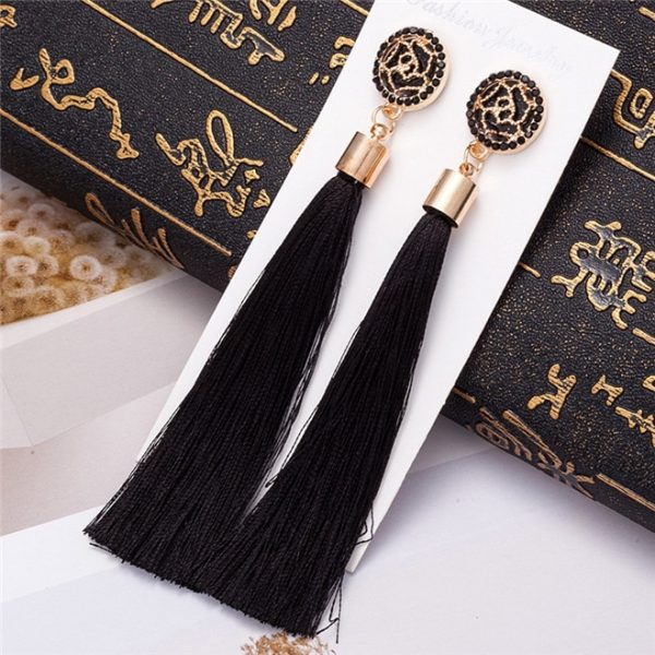 24101 9f1a1b 600x600 - HOCOLE Bohemian Crystal Tassel Earrings Black White Blue Red Pink Silk Fabric Long Drop Dangle Tassel Earrings For Women Jewelry