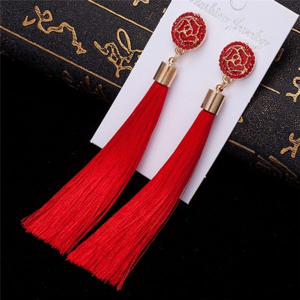 24101 d473c6 600x600 - HOCOLE Bohemian Crystal Tassel Earrings Black White Blue Red Pink Silk Fabric Long Drop Dangle Tassel Earrings For Women Jewelry