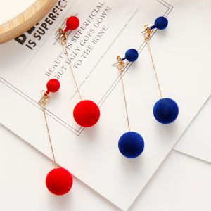 24103 21e466 300x300 - Fashion Red Black Plush Ball Personality Drop Earrings For Women Jewelry Gift Round Long Tassel Simple Dangle Earrings Statement