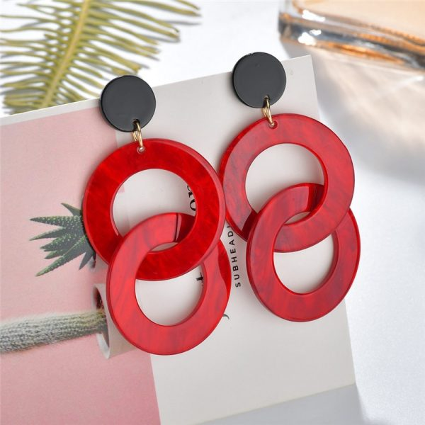 24104 3ac327 600x600 - 2019 New Resin Acrylic Drop Dangle Earrings For Women Bohemian Geometric Red Fashion Pendant Earring Wedding Jewelry