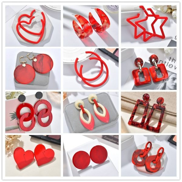 24104 bec536 600x600 - 2019 New Resin Acrylic Drop Dangle Earrings For Women Bohemian Geometric Red Fashion Pendant Earring Wedding Jewelry