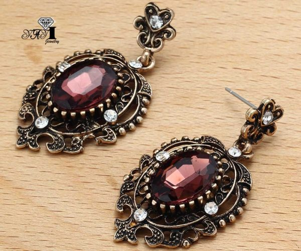 24248 3d46ee 600x500 - YaYi Jewelry New Red Glass  Rhinestone Dangle Crystal Earring Women's Fashion Ancient Gold Color Gem Earrings Gift 1201